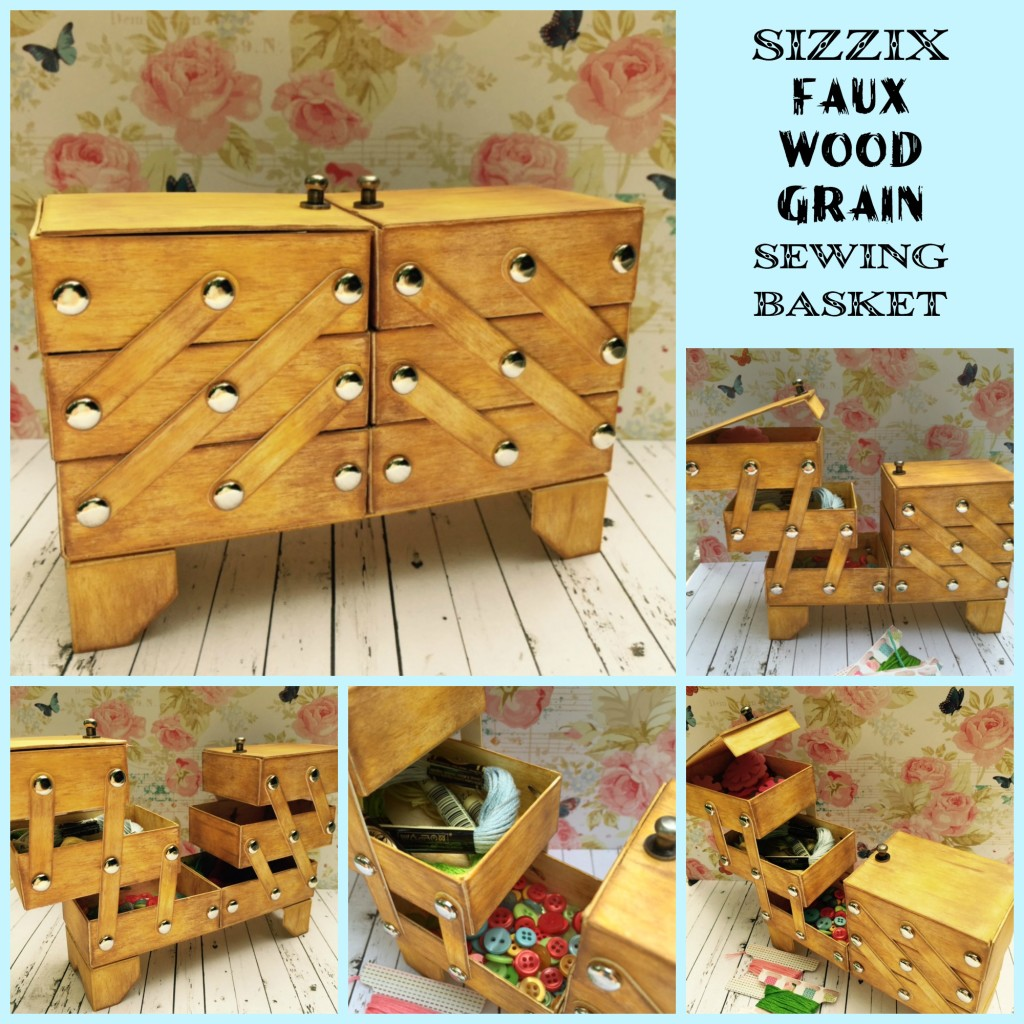 Faux Wood Grain Sewing Basket collage