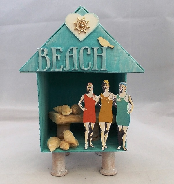 Art with Heart June Challenge {Summer Celebrations} Beach Hut Artist Trading Block by Tracy Evans| Eileenhull.com