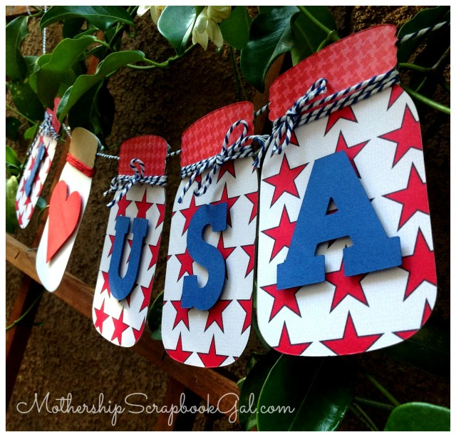 Red, White and Blue Mason Jar Banner by Rina Gonzales | Eileenhull.com