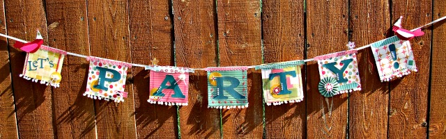 Art with Heart June Challenge {Summer Celebrations}DIY Party Banner by Donna Budzynski| Eileenhull.com
