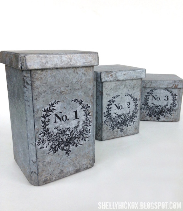 Faux Galvanized Metal Canister Tutorial with DecoArt Media by Shelly Hickox