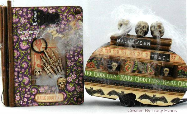 Graphic 45 Haunted Halloween Trailer and Sizzix Passport Book by Tracy Evans