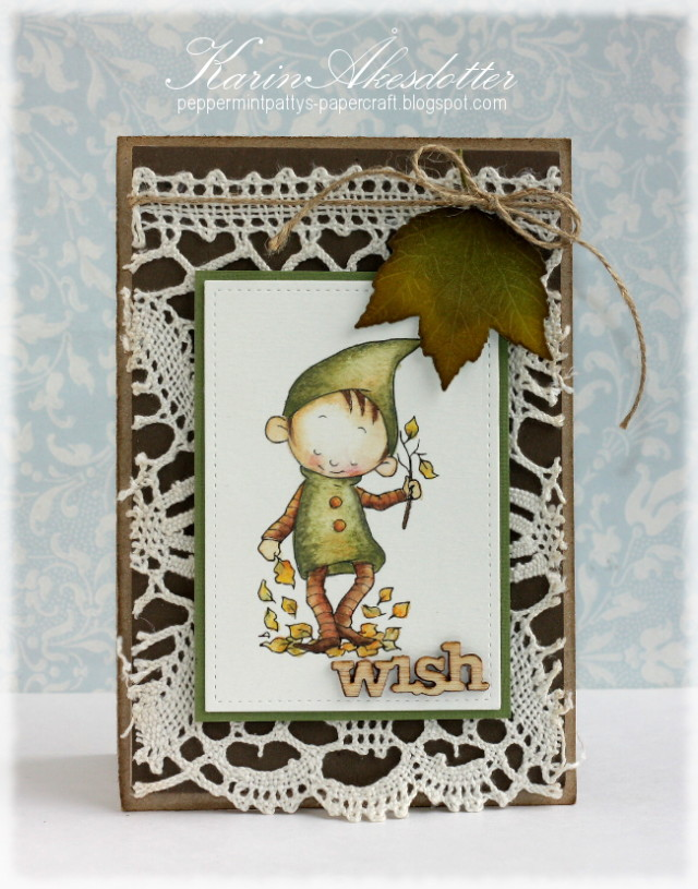Lace Background Fall Card by Karen Akesdotter
