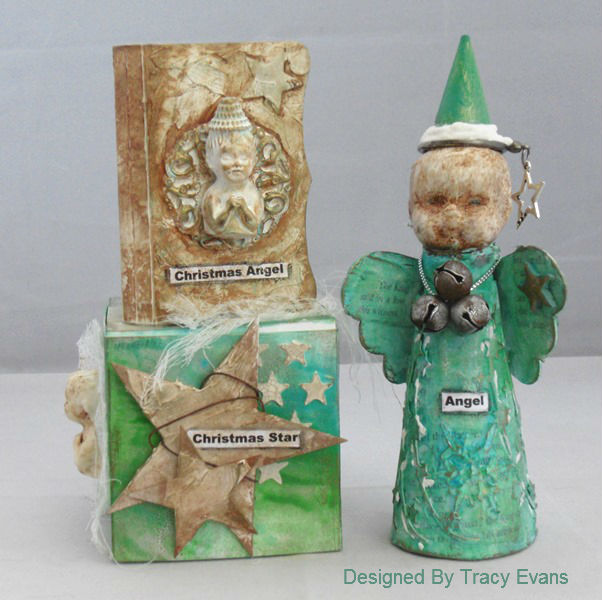 Christmas Mixed Media ATB and Needle Book with Sizzix and DecoArt Media by Tracy Evans