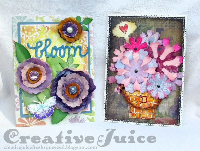 New Sizzix Paper Flower Projects: Eileen Hull Floral Cards Tutorial by Lisa Hoel