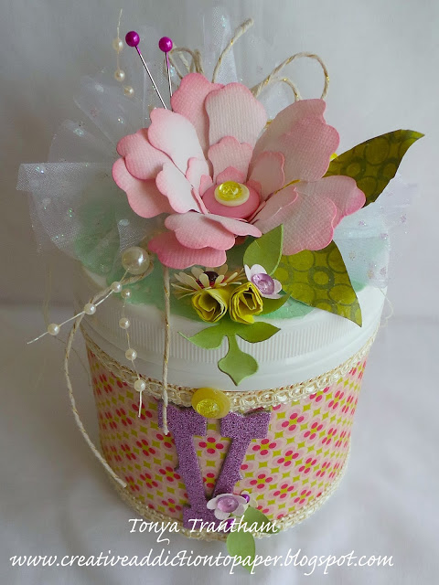 Eileen Hull Paper Flower Tutorials: Up-cycled Container with Sizzix Rolled Flower by Tonya Trantham