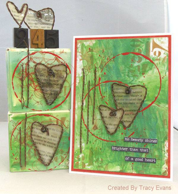 Mixed-Media Wire Heart Artist Trading Blocks with Eileen Hull's Sizzix Twist and Style Tool by Tracy Evans