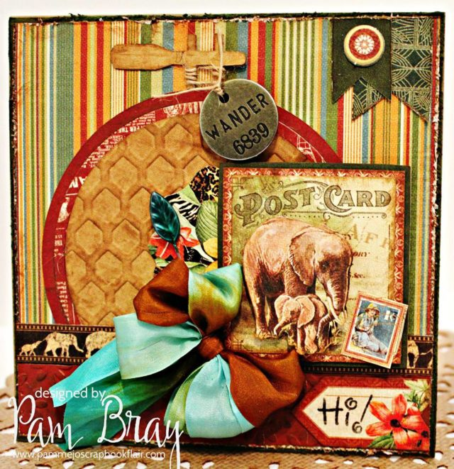 Create Cards with Sizzix: Eileen Hull Embroidery Hoop Card with Graphic 45 Safari Adventure by Pam Bray