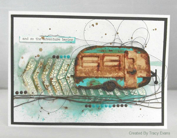 Create Cards with Sizzix: Eileen Hull Travel Trailer with DecoArt Media Card by Tracy Evans