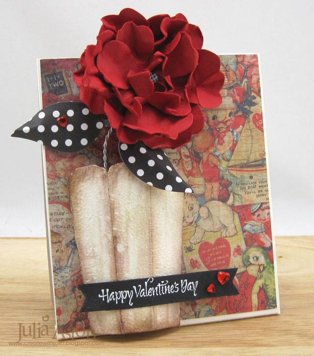 More Sizzix Card Making Ideas: 3-D Flower Vase Valentine's Day Card Tutorial by Julia Aston