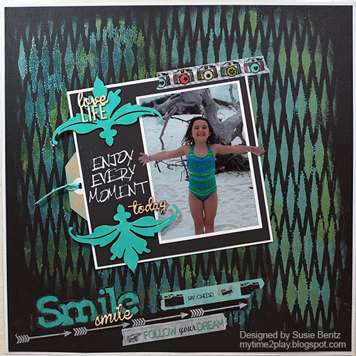 Clearsnap Blends Techniques: Stenciled Layout Tutorial by Suzie Bentz