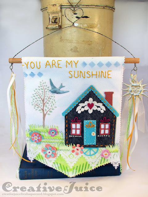 Creative ColorBox Blends Project Ideas: Stenciled and Stitched Banner by Lisa Hoel