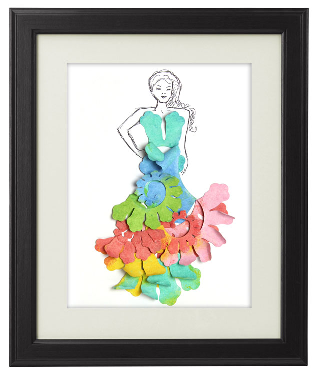 Creative ColorBox Blends Project Ideas: Paper Flower Fashion Illustration Art by Jonathan Fong