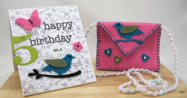 Kunin Heartfelt Sizzix Tutorials: Birds and Butterflies Card with Shoulder Bag by Julia Aston