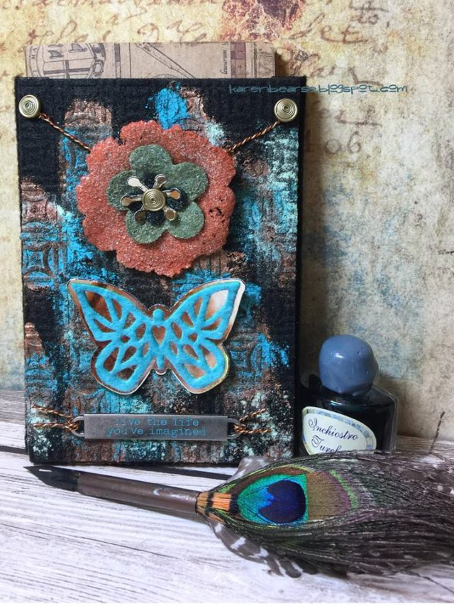 Kunin and Sizzix Heartfelt Project Tutorials: Felt Patina Pocket Journal by Karen Bearse