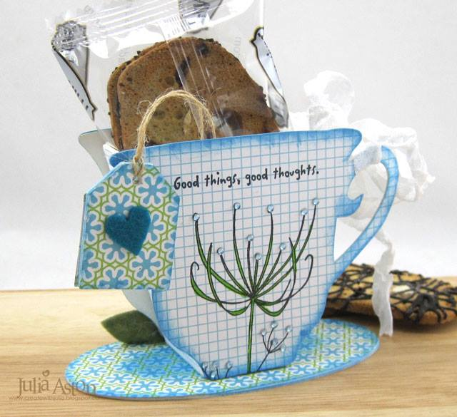 Heartfelt Sizzix Collection with Stampotique: 3-D Tea Cup Treat Holder Tutorial by Julia Aston
