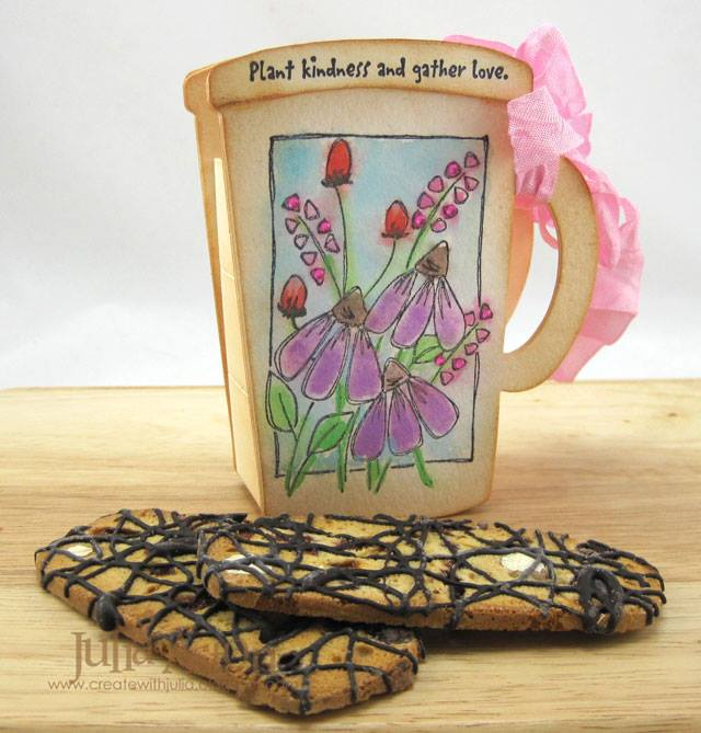 Eileen Hull Sizzix Projects with Stampotique: Watercolored 3D Mug Tutorial by Julia Aston
