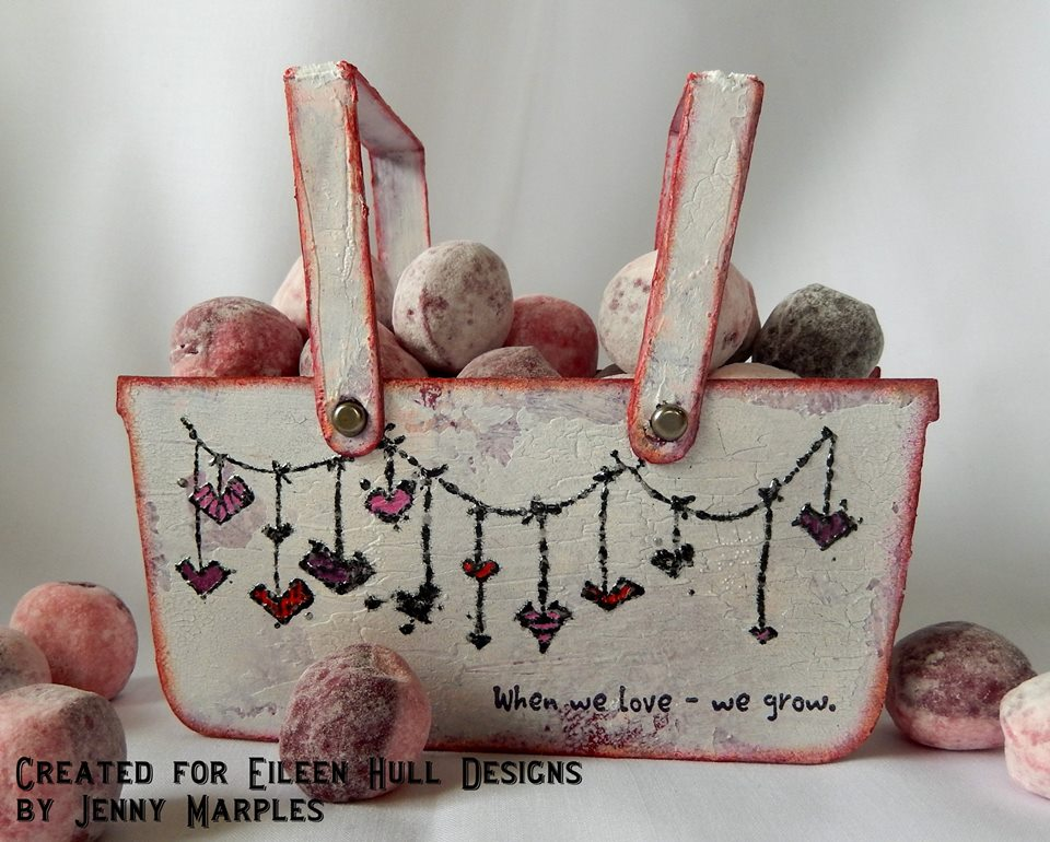 Eileen Hull Sizzix Projects with Stampotique: Cherry Bon Bon Basket by Jenny Marples